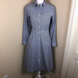 Like new J. Crew striped button shirt dress 6